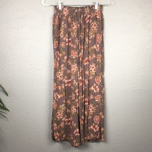 American Eagle Brown & Pink Floral Wide Leg Pants